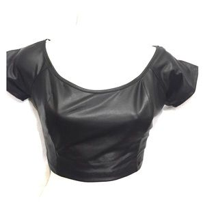 Tops - New pleather crop top Jr. L stretch
